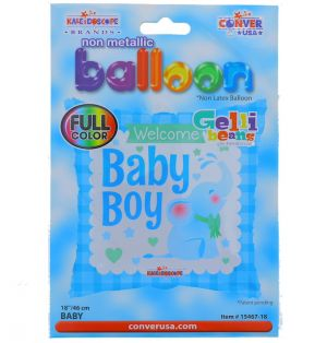 BABY BOY SQUARE NON LATEX BALLOON 18 INCH