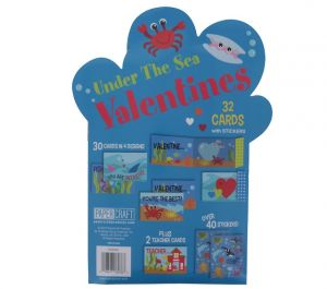 UNDER THE SEA VALENTINES DAY CARDS 32 COUNT