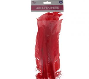 RED QUILL FEATHERS 10-12IN 4 COUNT