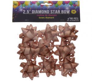 ROSE GOLD 2.5 INCH STAR BOWS 9 PCS