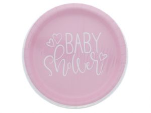 PINK BABY SHOWER PLATE 9 IN 8 CT